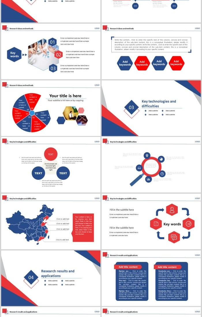 Blue Red Graduation Thesis Defense Ppt Template Powerpoint