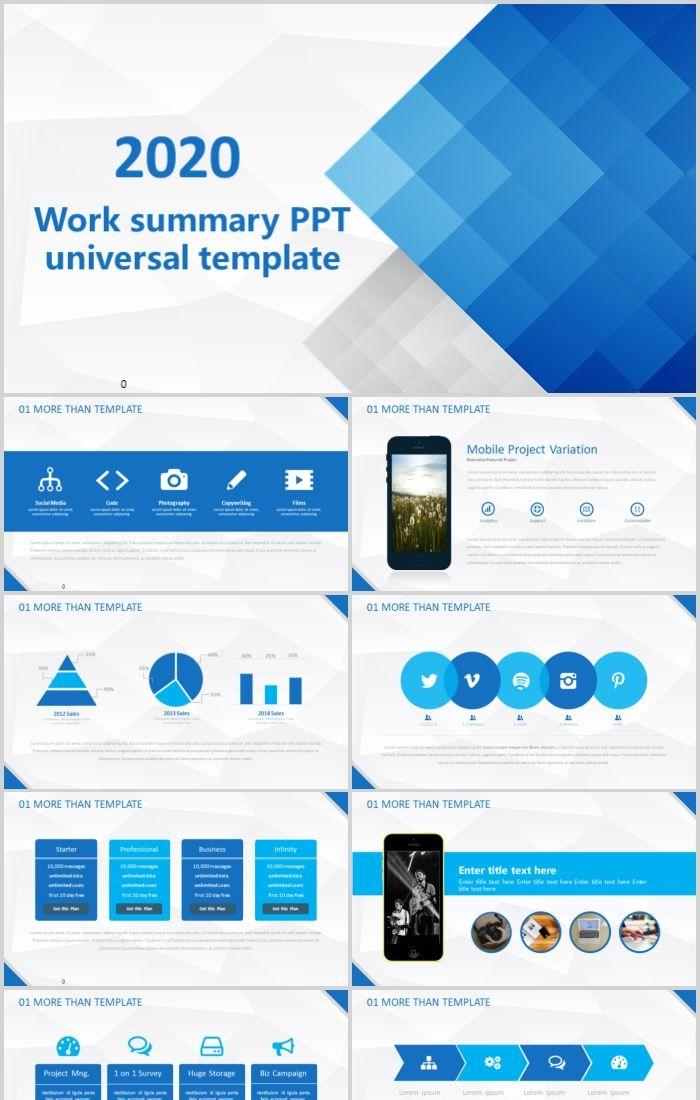 Blue Picture Color Combined Work Summary Ppt Universal Template Powerpoint Templates Professional Ppt Excel Office Documents Template Download Site