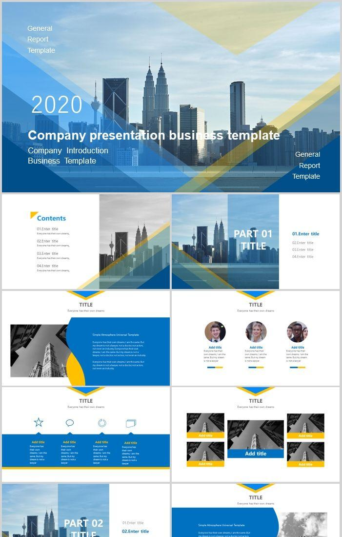 Blue Simple Business Style Company Profile Ppt Template Powerpoint Templates Professional Ppt Excel Office Documents Template Download Site