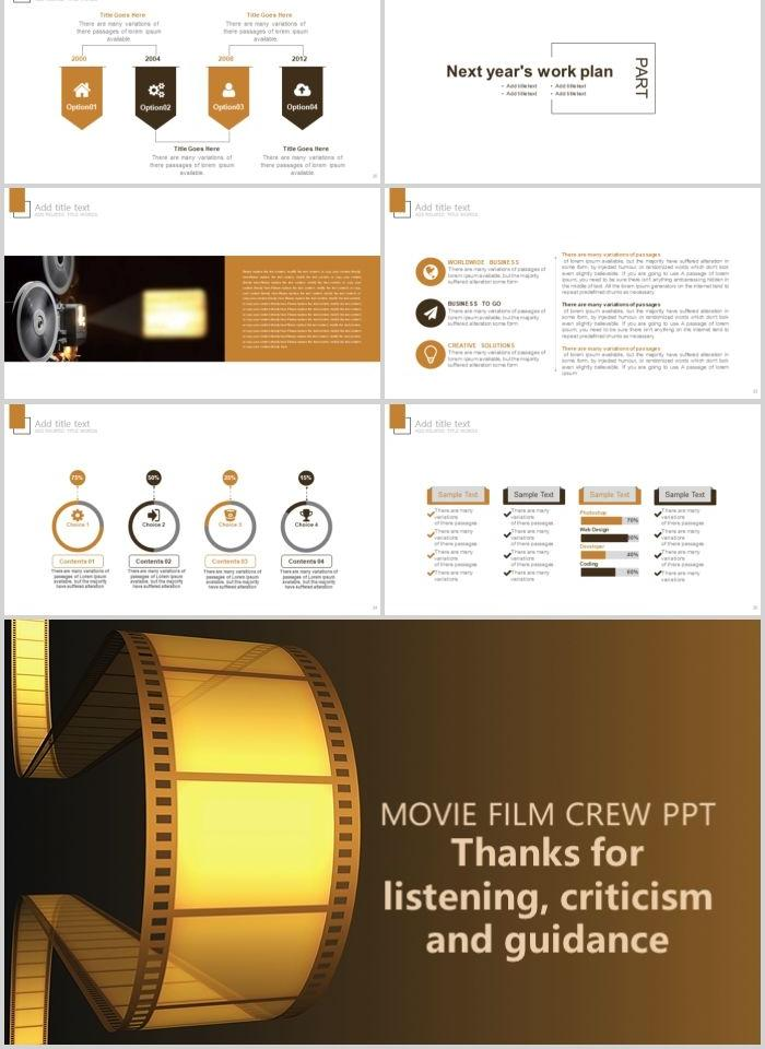 Creative Film Retro Movie Film And Television Media Ppt Template Powerpoint Templates Ggret