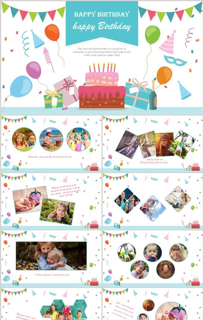 Cartoon Happy Birthday Electronic Commemorative Album Ppt Template Powerpoint Templates Professional Ppt Excel Office Documents Template Download Site
