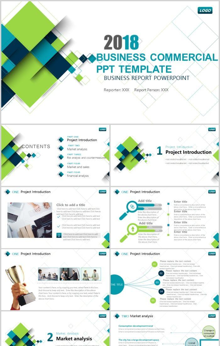 Blue Green Business Commercial Report Summary Plan Ppt