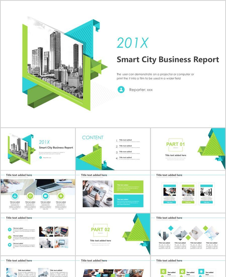 Blue And Green Smart City Business Report Summary Ppt
