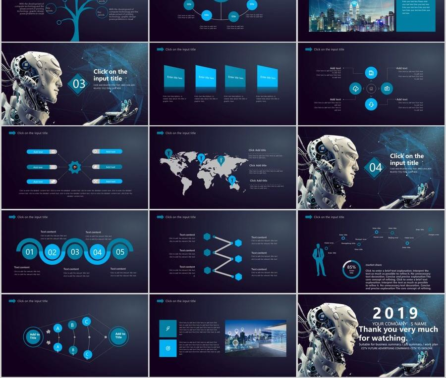 Artificial Intelligence Industrial Robot Information High Tech Ppt Template Powerpoint Templates Professional Ppt Excel Office Documents Template Download Site