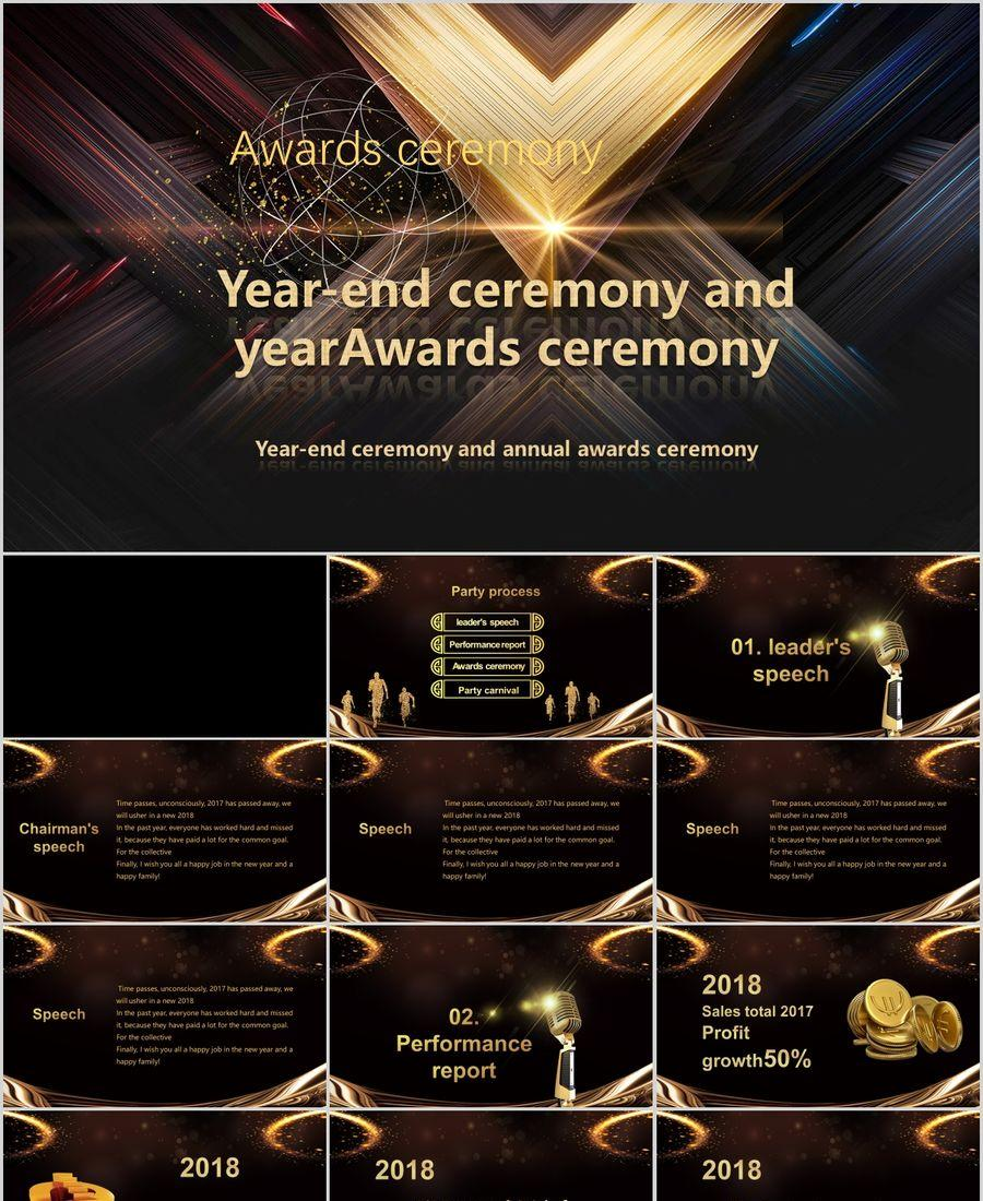 Countdown film head shocked gold award ceremony PPT template