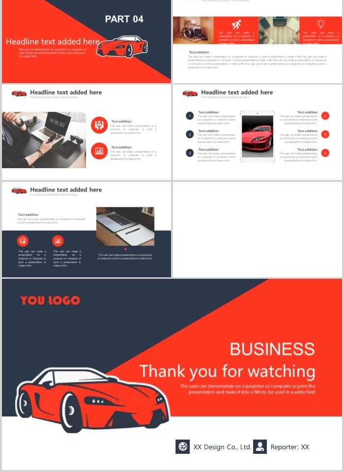 Red flat car marketing data report ppt template PowerPoint